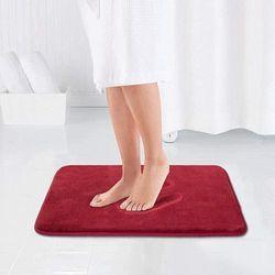 (43cm x 60cm , Red) - MAYSHINE Memory Foam Bathroom Rugs Non-Slip Water Absorbent Fast Dry Luxury Soft Bath Mat (43cm x 60cm , Red)