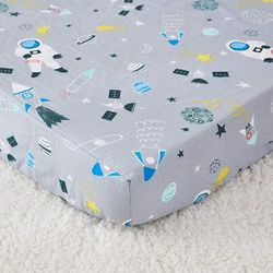 (Astronaut Crib Sheet) - Brandream Outer Space Fitted Crib Sheets Boys Grey Astronaut Galaxy Baby Nursery Crib Bedding & Toddler Sheets, 100% Safe Cotton