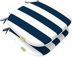 (Set of 2, Cabana Navy) - LVTXIII Outdoor Chair Cushions Set of 2, Patio Seat Cushions 41cm x 43cm with Ties for Patio Furniture Chairs Home Garden Use, Cabana Navy
