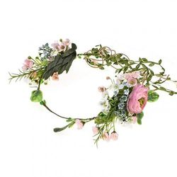 (pink -B) - Vividsun Bridal Green Leaf Crown Bohemian Headpiece Floral Headband Photo Prop (pink -B)