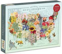 """Galison Wendy Gold USA State Flowers Puzzle, 1,000 Pieces, 20"""" x 27"""" – Jigsaw Puzzle Featuring a Colourful Illustration by Wendy Gold – Thick Sturdy Pieces, Challenging Family Activity, Great Gift Idea"""
