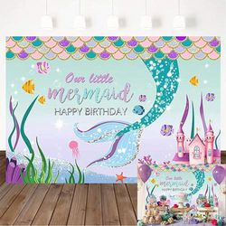 (2.1m x 1.5m) - Avezano Little Mermaid Birthday Party Backdrop, Under The Sea Castle Birthday Party Decorations Mermaid Scales Girl's Birthday Party Banner Photography Background (2.1m x 1.5m)