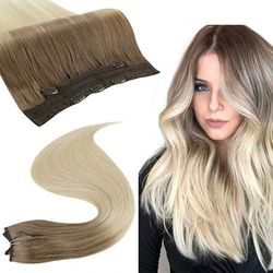 RUNATURE One Piece Clip in Hair Extensions Human Hair 41cm Chestnut Brown Fading to Blonde Hairpiece with 5 Clips 100g