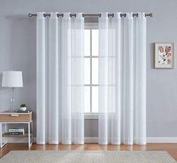 (140cm W x 240cm L - Each Panel, Ivory) - LinenZone - Grommet Semi-Sheer Curtains - 2 Pieces - Total Size 270cm Wide (140cm Each Panel) - 240cm Long Panels - Beautiful, Elegant, Natural Light Flow Material (140cm W x 240cm L, Off -White)