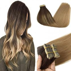 (46cm , Chocolate brown to dirty blonde 4/18) - GOO GOO Human Hair Extensions Tape in Ombre Chocolate Brown to Dirty Blonde 50g 20pcs 46cm Real Tape in Hair Extensions Human Hair Remy Tape in Hair Extensions
