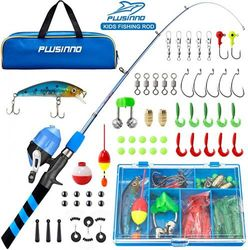(1.8M 5.91FT, BLUE) - PLUSINNO Kids Fishing Pole, Portable Telescopic Fishing Rod and Reel Combo Kit - with Spincast Fishing Reel Tackle Box for Boys, Girls, Youth…