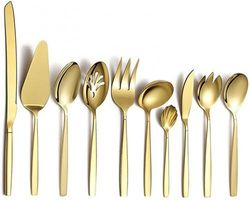 (T. Gold Serving Set 10 Pieces) - Berglander Gold Silverware Serving Set 10 Pieces, Stainless Steel Flatware Serving Set With Gold Titanium Plating, Silver Serving Utensil, Anti Rust, Lead Free (10 Pieces)