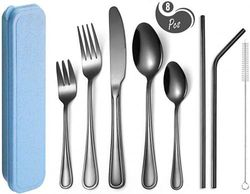 (E-8 Black) - AARainbow 8 Pieces Stainless Steel Flatware Set Portable Reusable Cutlery Set Travel Utensils Set Including Knife Fork Spoon Straws Cleaning Brush Dishwasher Safe (E-8 Black)