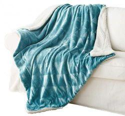 (Slate Blue) - Exclusivo Mezcla 130cm x 180cm Large Throw Blanket, Reversible Brushed Flannel Fleece & Plush Sherpa Blanket(Slate Blue)- Decorative, Lightweight, Soft and Warm