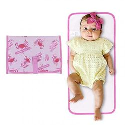 (Flamingo) - ISAMANNER Changing Pad - Portable Changing Pad, Lightweight Travel Nappy pad,Baby Nappy Changing Pad,Nappy Mat for Baby Girls,Travel Changing Mat Changing Clutch (Flamingo)