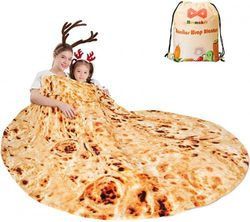(180cm , Black) - mermaker Burritos Tortilla Blanket 2.0 Double Sided 180cm for Adult and Kids, Giant Funny Realistic Food Throw Blanket, 285 GSM Novelty Soft Flannel Taco Blanket