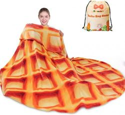 (180cm , Orange) - mermaker Waffle Blanket 2.0 Double Sided 180cm for Adult and Kids, Novelty Realistic Waffle Food Throw Blanket, 285 GSM Soft Flannel Blanket