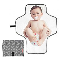 (Grey-Arrow) - BABEYER Baby Portable Changing Pad, Large Waterproof Nappy Changing Mat, Travel Mat Station for Toddlers Infants & Newborns