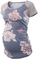 (Flower 1, M) - Love2Mi Women Maternity Top Short Sleeve Pregnancy T-Shirt Mama Clothes