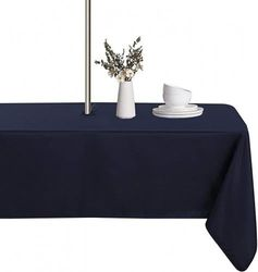"""(60""""x84"""" Rectangle Zipper, Navy) - LUSHVIDA Outdoor and Indoor Tablecloth - Washable Waterproof Wrinkle Free Table Cloth with Zipper and Umbrella Hole for Spring/ Summer/ Party/ Picnic/ BBQS/ Patio (Rectangle 150cm x 210cm , Navy)"""