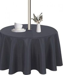 """(60"""" Round Zipper, Grey) - LUSHVIDA Outdoor and Indoor Tablecloth - Washable Waterproof Wrinkle Free Table Cloth with Zipper and Umbrella Hole for Spring/ Summer/ Party/ Picnic/ BBQS/ Patio (Round 150cm , Grey)"""