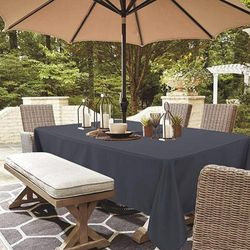 """(60""""x102"""" Rectangle Zipper, Grey) - LUSHVIDA Outdoor and Indoor Tablecloth - Washable Waterproof Wrinkle Free Table Cloth with Zipper and Umbrella Hole for Spring/ Summer/ Party/ Picnic/ BBQS/ Patio (Rectangle 150cm x 260cm , Grey)"""