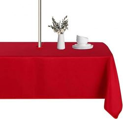 """(60""""x120"""" Rectangle Zipper, Red) - LUSHVIDA Outdoor and Indoor Tablecloth - Washable Waterproof Wrinkle Free Table Cloth with Zipper and Umbrella Hole for Spring/ Summer/ Party/ Picnic/ BBQS/ Patio (Rectangle 150cm x 300cm , Red)"""