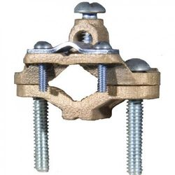 Morris Products 91672 Ground Clamp, For Armoured and Unarmored Wire, 3.2cm - 5.1cm Water Pipe Range, 8 - 4 Wire Range