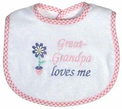 Dee Givens & Co-Raindrops 6738 Great-Grandpa Loves Me Small Bib - Pink