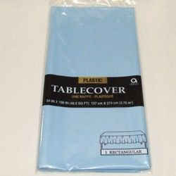 Amscan International Plastic Tablecover, Powder Blue
