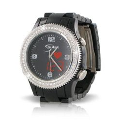 (Ladies, Black) - Fashion S-Pulse Heart Rate and Dual Time Zone Watch with Large LED Readout