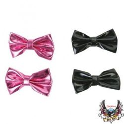 Dog Hair Bows - 2 Pair Metallic Black and Metallic Pink