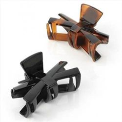 Black & Tort Bow Plastic Hair Clamps/Clips AJ26011