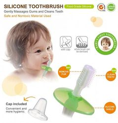 (Blue) - Simba Soft Bristle Silicone Baby Toothbrush with Milk Residue/Fur Scrubber. (Blue)
