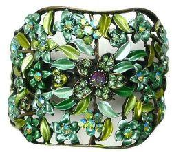 (green) - Crystal Flower Hair Holder Barrette Ponytail Hair Barrette for Women Girls YY86900-5green