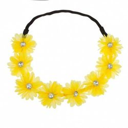 Lux Accessories Stretch Fit Floral Headband Head Crown Flower Crown Head Piece Bright Yellow