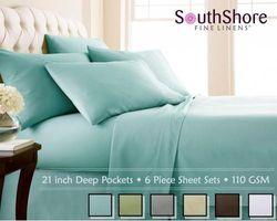 (Twin, Sky Blue) - Southshore Fine Linens (TM) Aspen Springs® 6 Piece - Extra Deep Pocket Sheet Set - SKY BLUE - Twin