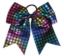 """New """"RAINBOW FOIL DOTS Black"""" Cheer Bow Pony Tail 7.6cm Ribbon Girls Hair Bows Cheerleading Dance Practise Football Games Competition Birthday"""