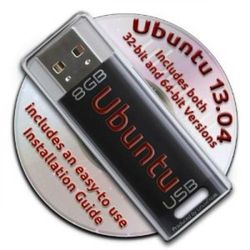 Ubuntu Linux 13.04 Bootable 8GB USB Flash Drive and DVD set - 32-bit and 64-bit.