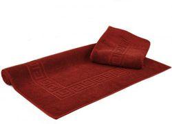 (Large Bath Mat - Set of 2, Cranberry) - Luxury Hotel & Spa Towel 100% Genuine Turkish Cotton Greek Key (Large Bath Mat - Set of 2, Cranberry)