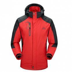 (Small, Red) - Diamond Candy men Sportswear Hooded Softshell Outdoor Raincoat Waterproof Jacket
