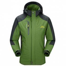 (X-Large, Green) - Diamond Candy men Sportswear Hooded Softshell Outdoor Raincoat Waterproof Jacket