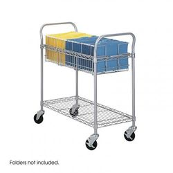 """(36"""") - Safco Products Wire Mail Cart, 90cm Wide, Grey, 5236GR"""
