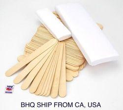 100 Salon Waxing Hair Removal Wooden Spatulas & 100 Non Woven Wax Strips
