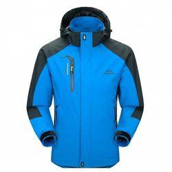 (XX-Large, Blue) - Diamond Candy men Sportswear Hooded Softshell Outdoor Raincoat Waterproof Jacket