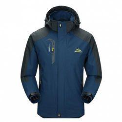 (XX-Large, Dark Blue) - Diamond Candy men Sportswear Hooded Softshell Outdoor Raincoat Waterproof Jacket