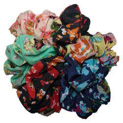 Floral Scrunchie Set, Set of 6 Scrunchies (Floral/Solid Assortment)