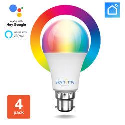 skyLUX Smart Bulb Colour Wi-Fi- B22 (4 Pack)
