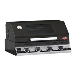 Discovery 1100E 4 burner black enamel built-in barbecue with window hood