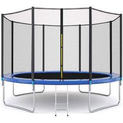 POP MASTER 12FT Flat Trampoline Free Ladder Safety Net Home Backyard Use