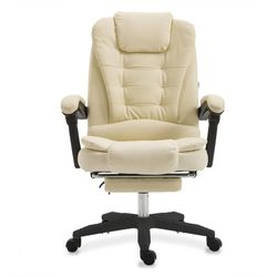 Mason Taylor Massage Computer Chair Office Home Chairs Recliner PVC Leather Ivory White