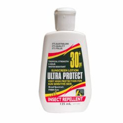 Ultra Protect Sunscreen Lotion SPF 30+, 125ml, with Insect Repellent, 100 Percent Australian Made, Each