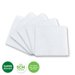 1st Care® 50PCE Square Gauze Pads Non Adhesive Gentle Absorbent Cuts Burns 5cm