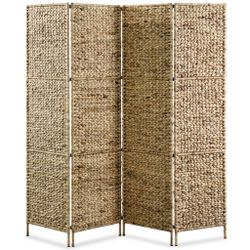 4-Panel Room Divider 154x160 cm Water Hyacinth