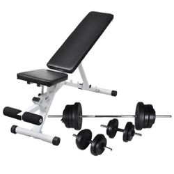 Workout Bench with Barbell and Dumbbell Set 60.5 kg